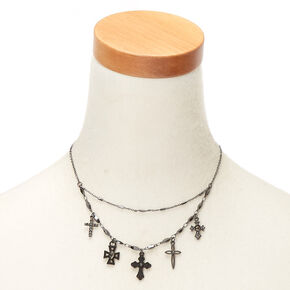 Hematite Cross Statement Necklace,