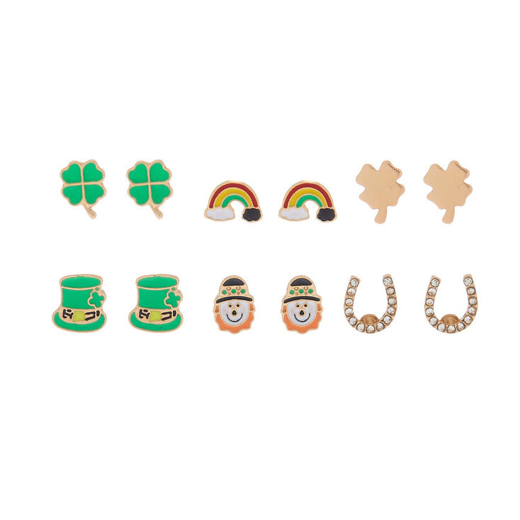 Gold Irish Charm Stud Earrings - 6 Pack,