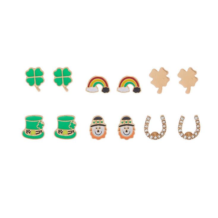 Gold Irish Charm Stud Earrings - 6 Pack,