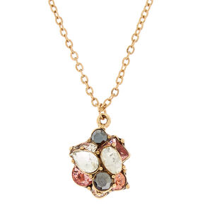 Antique Gold Embellished Pendant Necklace - Pink,