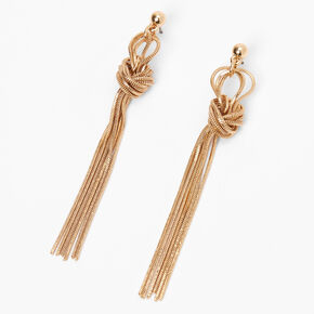 """Gold 3"""" Knotted Chain Drop Earrings,"""
