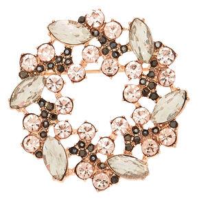 Rose Gold Glass Rhinestone Wreath Brooch,