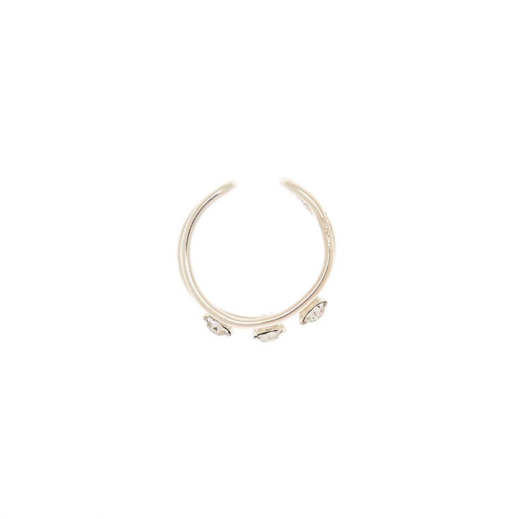 Sterling Silver Stone Two Row Ear Cuff,