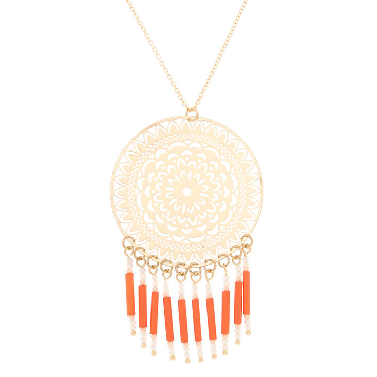 Gold Filigree Long Pendant Necklace - Coral,