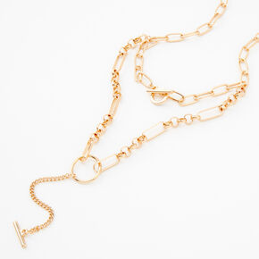 Gold Circle Bar Multi Strand Chain Necklace,