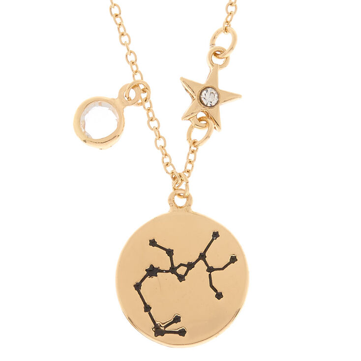 Gold Zodiac Pendant Necklace - Sagittarius,