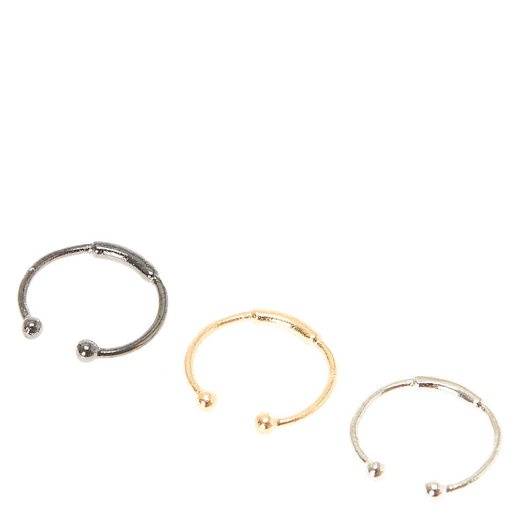 Mix Metal Barred Faux Nose Rings,