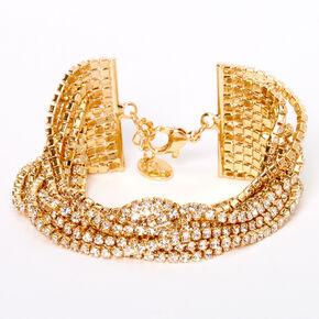 Gold Rhinestone Swag Chain Bracelet,