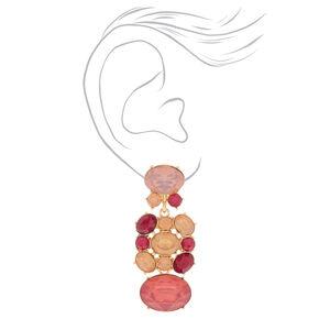 """Gold 2"""" Stone Drop Earrings - Pink,"""