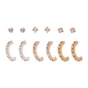 Mixed Metal Embellished Hoop & Stud Earrings - 6 Pack,