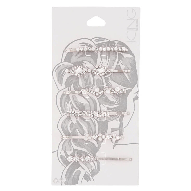 Silver-Tone Faux Pearl & Crystal Bobby Pins - 6 Pack,
