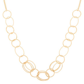 Gold Layered Link Statement Necklace,