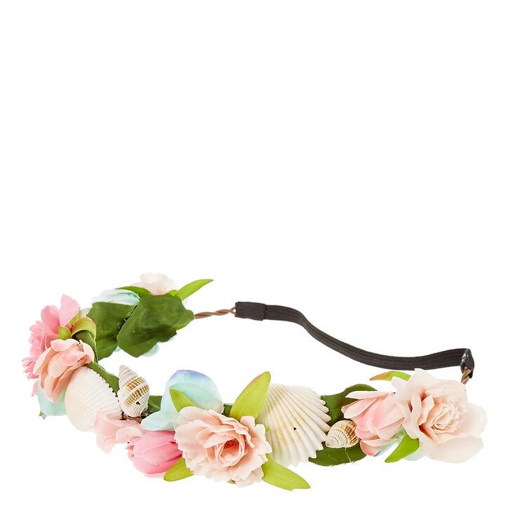 Pink Flower & Seashells Hair Garland,