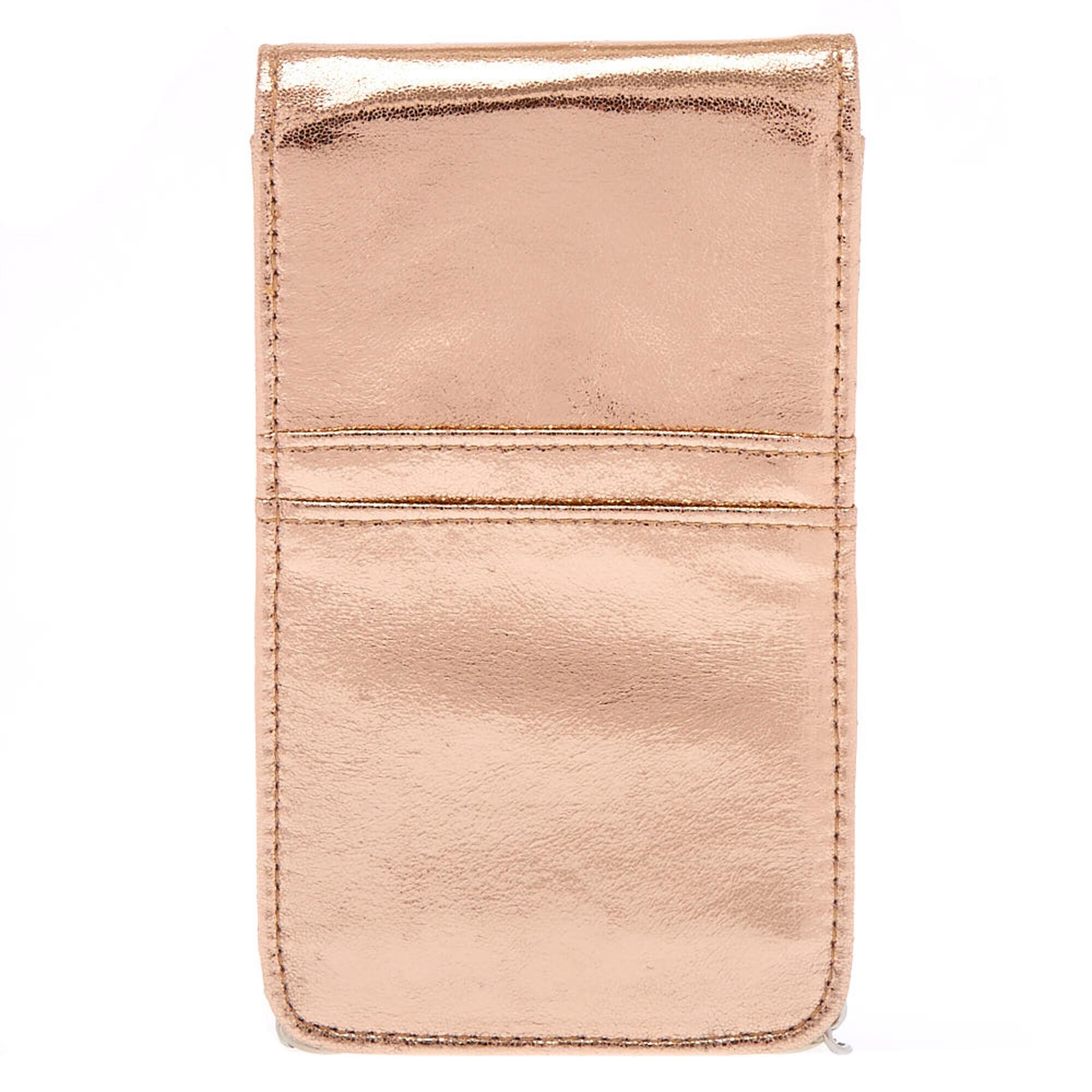 Metallic Rose Gold Tech Crossbody Bag