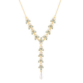 Glass Rhinestone Leaf Y-Neck Pendant Necklace - Opal,