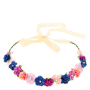 Pink, Purple, & Blue Cluster Flower Crown Headwrap,