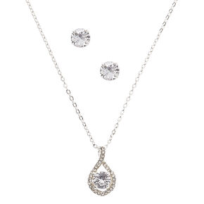 Silver Cubic Zirconia Infinity Jewelry Gift Set - 2 Pack,