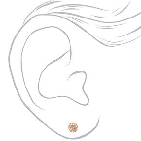 Rose Gold Embellished Pearl Stud Earrings - Blush Pink, 6 Pack,