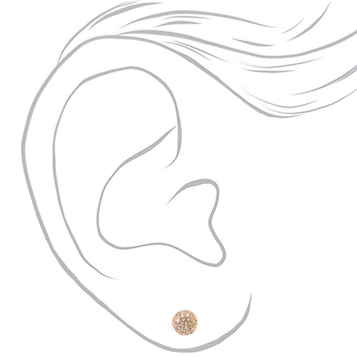 Rose Gold Embellished Pearl Stud Earrings - Blush Pink, 6 Pack,