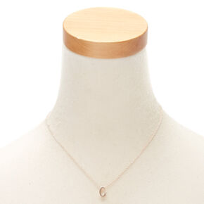 Rose Gold Cursive Initial Pendant Necklace - C,