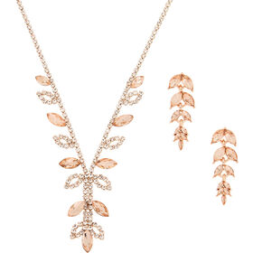 Rose Gold Rhinestone Leaf Jewelry Set - 2 Pack,