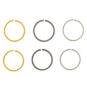 Mixed Metal 20G Basic Solid Hoop Nose Rings - 6 Pack,