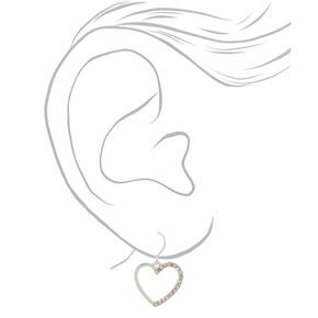 "Silver 1"" Simulated Crystal Heart Drop Earrings,"