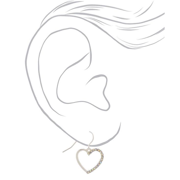 "Silver 1"" Simulated Crystal Heart Drop Earrings,"