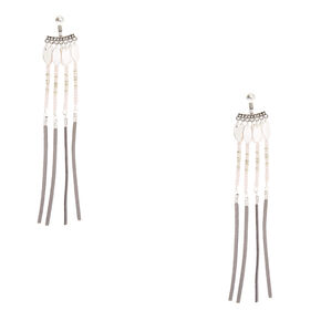 Pink Beaded Dangle Earrings with Gray Tassels,