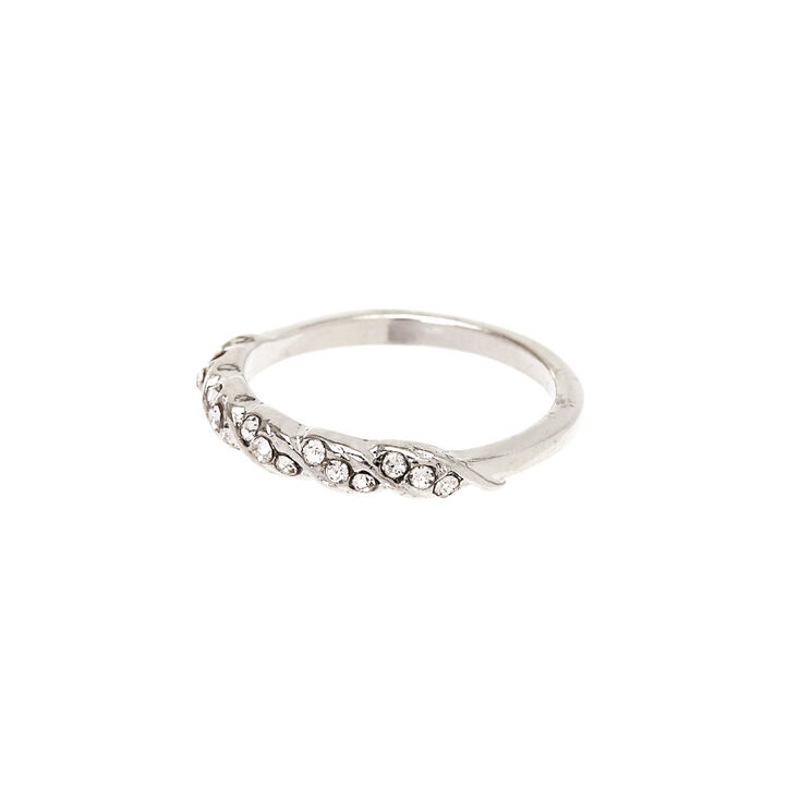 Silver Embellished Twist Ring,