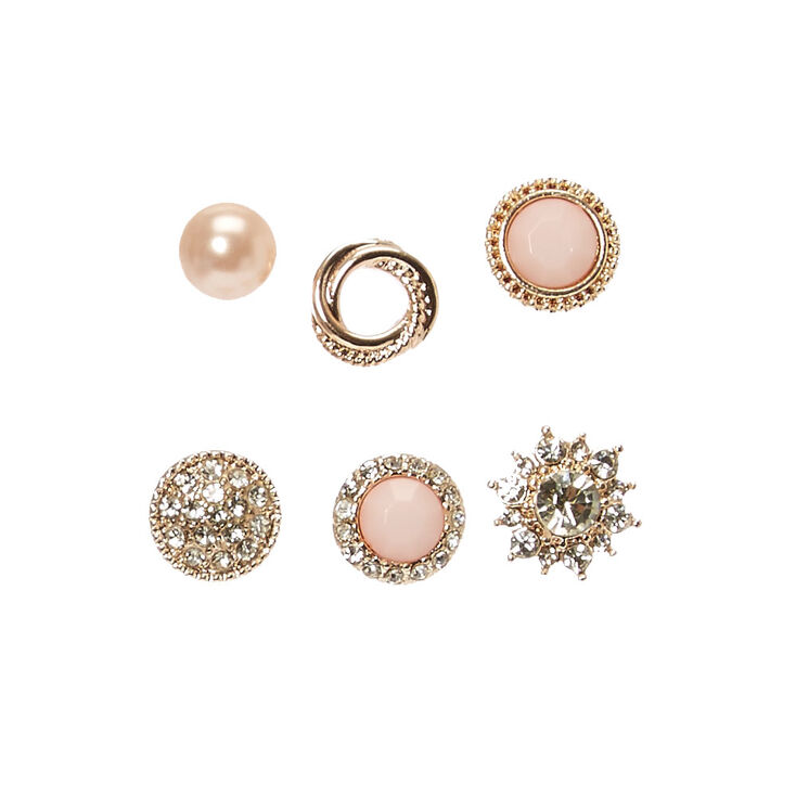 Blush Pink & Gold Motif Stud Earrings,