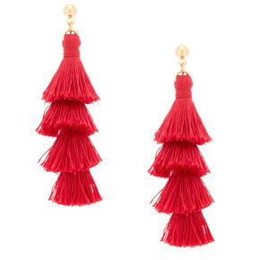 "2.5"" Tiered Tassel Drop Earrings - Red,"