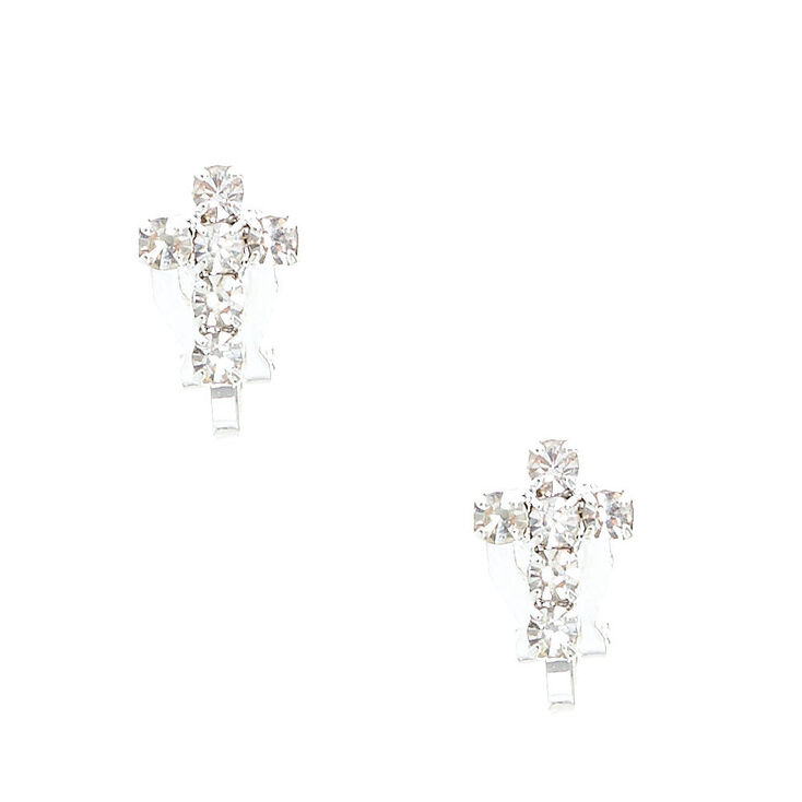 Silver Tone Faux Crystal Lined Cross Clip On Stud Earrings,
