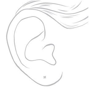 Sterling Silver Cubic Zirconia Rectangle Stud Earrings - 3MM,