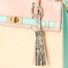 Pastel Color Block Satchel Crossbody Bag,
