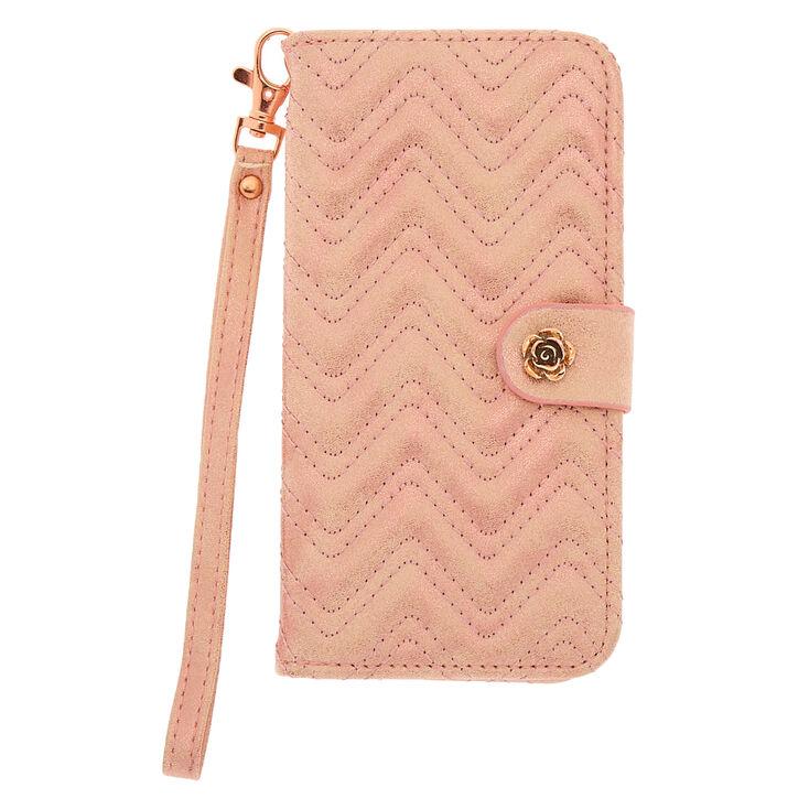Rose Gold Quilted Folio Phone Case - Fits iPhone 6/7/8 Plus,