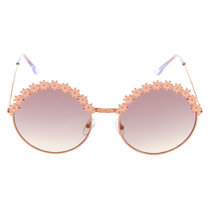 Rose Gold Round Daisy Sunglasses,