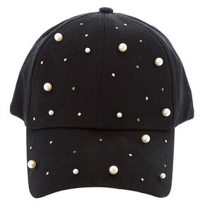 Studded Pearl Baseball Hat - Black,