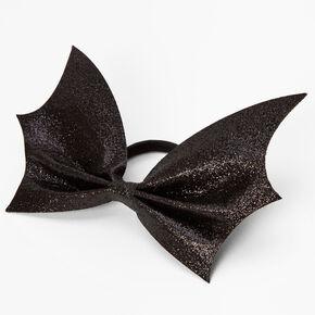 Glitter Large Bat Hair Bow Tie - Black,