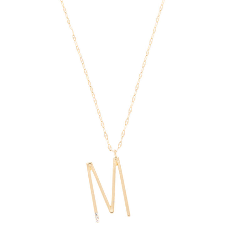 Oversized Initial Stone Pendant Necklace - M,