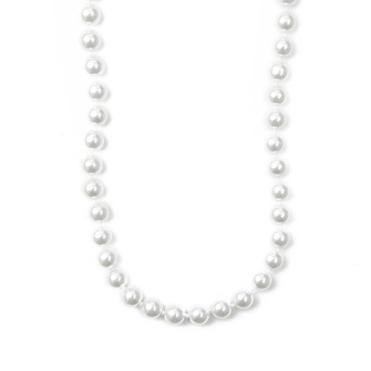 """Classic 8MM White Pearl 20"""" Necklace,"""