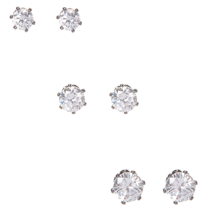 5MM, 6MM, & 7MM Round Cubic Zirconia Hematite Framed Stud Earrings,