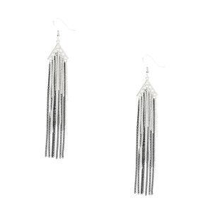 Black White & Silver Chain Tassel Earrings,