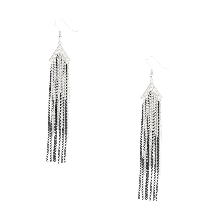 Black White & Silver Chain Tassel Earrings,