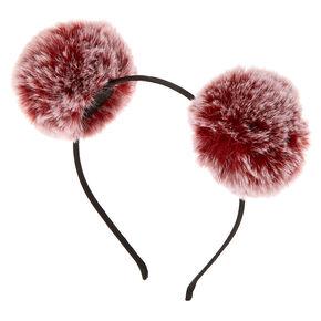 Ombre Pom Pom Ears Headband - Burgundy,