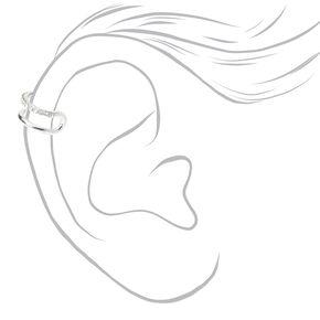 Silver Half Crystal Ear Cuff,