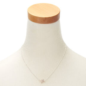Mixed Metal Sideways Initial Pendant Necklace - W,