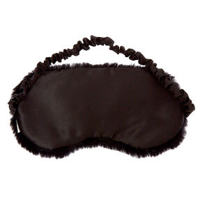 Plush Sequin Eyelash Sleeping Mask - Black,