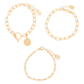 Gold Coin Chain Bracelets - 3 Pack,