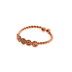 Sterling Silver Rose Gold Twisted Faux Hoop Nose Ring,